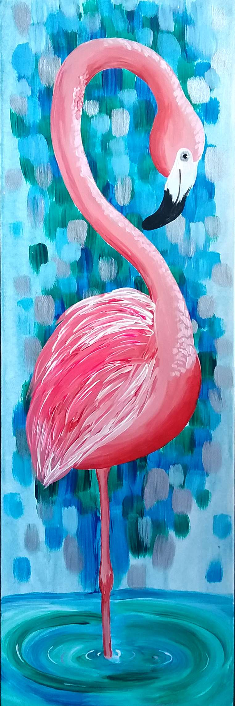 w/ Stencil for Flamingo! Easy painting