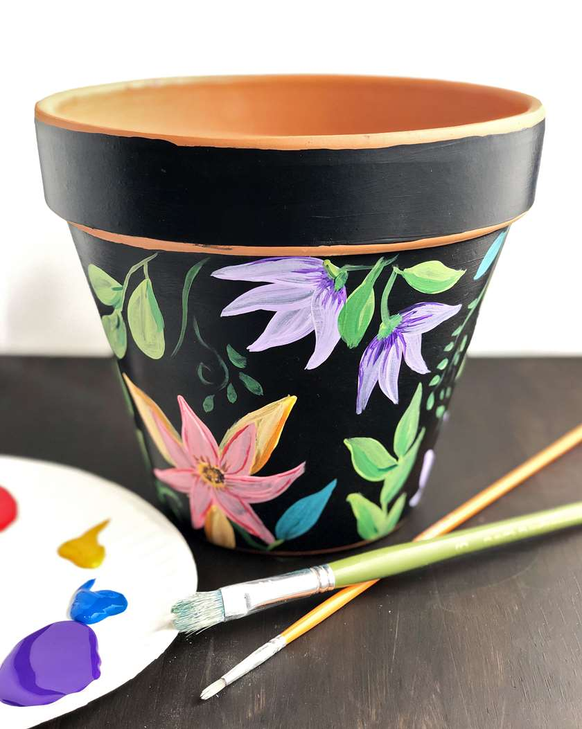 Floral Painted Flower Pot - 1/2 Price Mimosas
