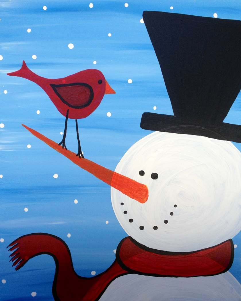 Painting snowman day! In studio!