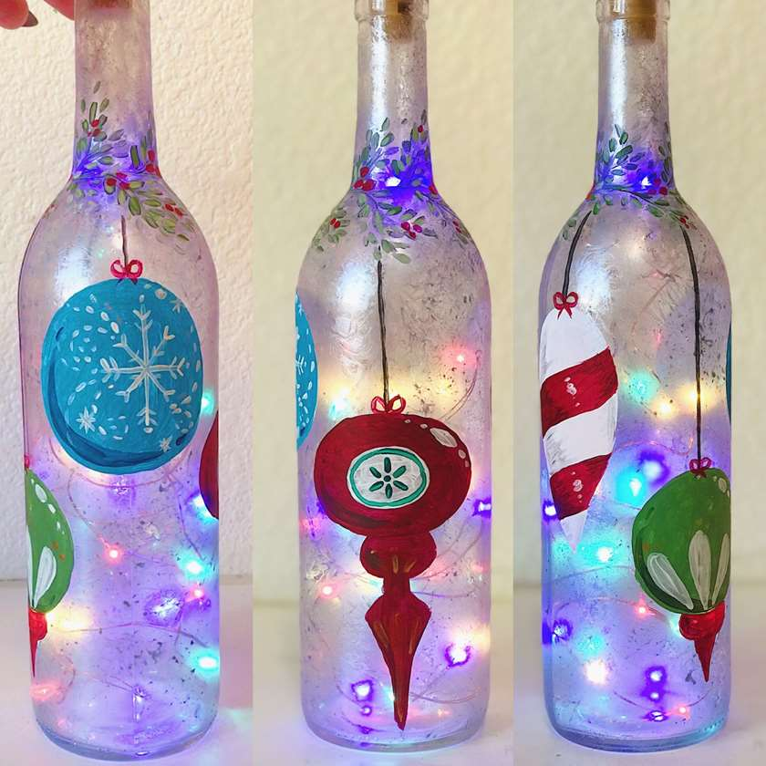 Frosty Ornament Wine Bottle - bottle and lights included!