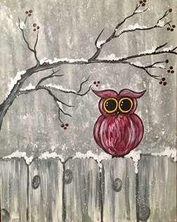 Frosty Winter Owl