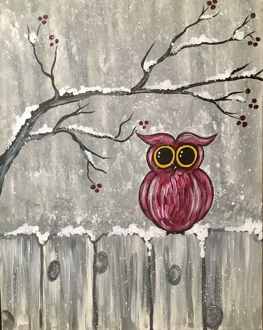 Frosty Winter Owl