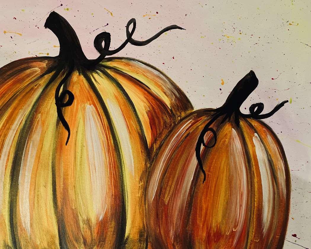 glowing pumpkins - black light painting