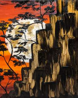 Golden Cliffs at Moonrise