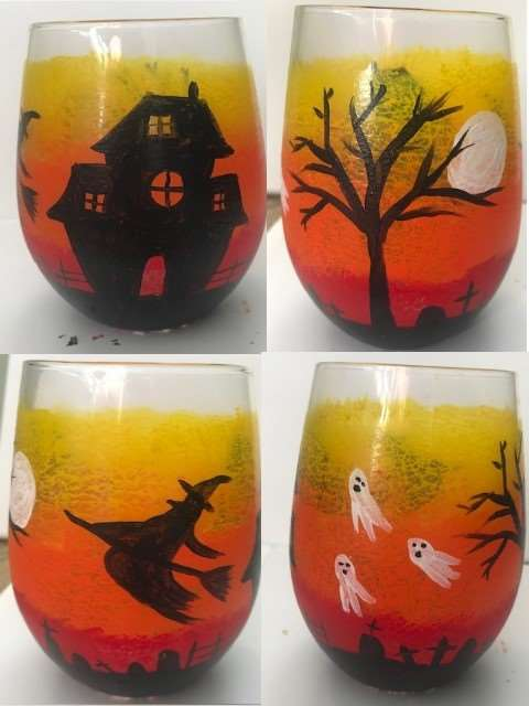 Paint 2 Very Spooky Wine Glasses