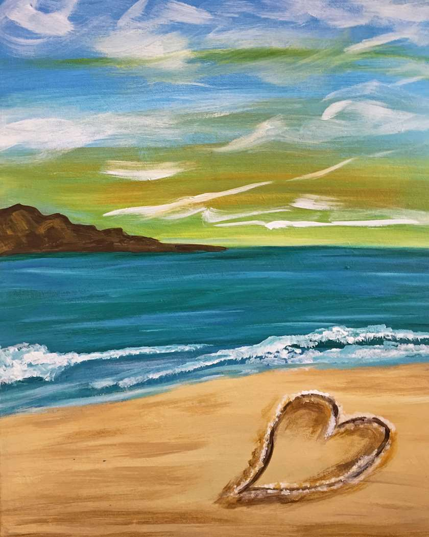 HEART IN THE SAND - CHOOSE YOUR CANVAS SIZE