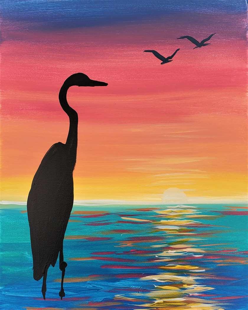 Heron at Sunset