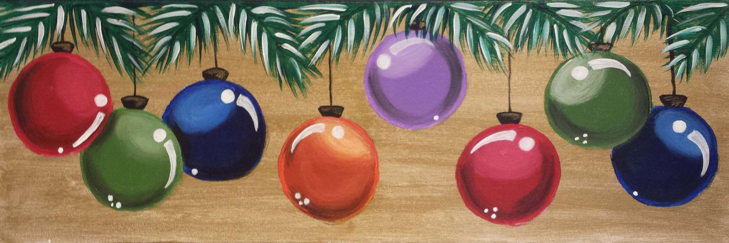 Holiday Ornaments in a Row