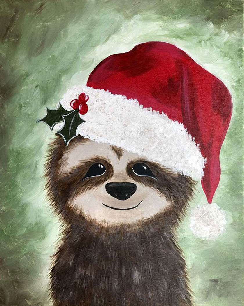 LIVE VIRTUAL CLASS + 7 DAYS ON-DEMAND: HOLIDAY SLOTH - INCLUDES PAINT FROM HOME ART KIT