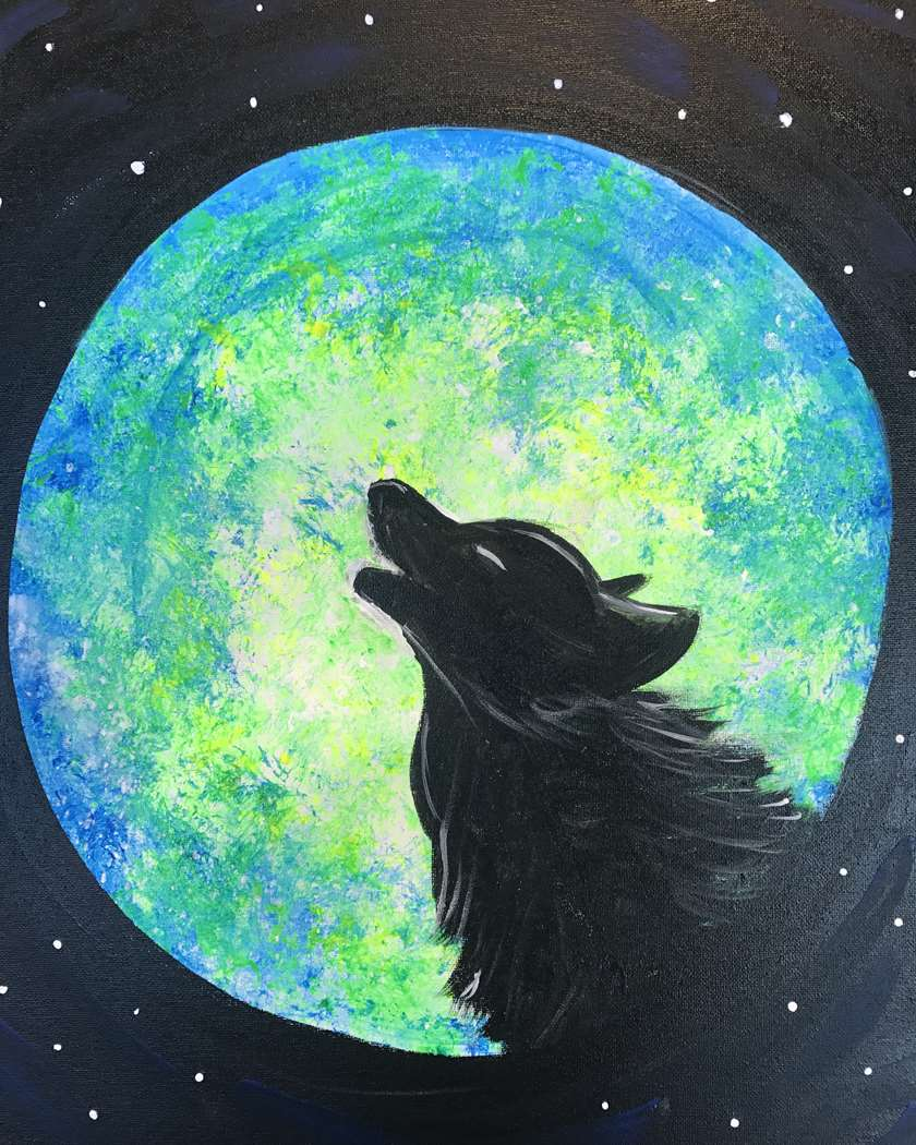 Blacklight Painting - Howl in the Dark! Proof of Vaccination Required. Please arrive 30 minutes earlier to be seated.