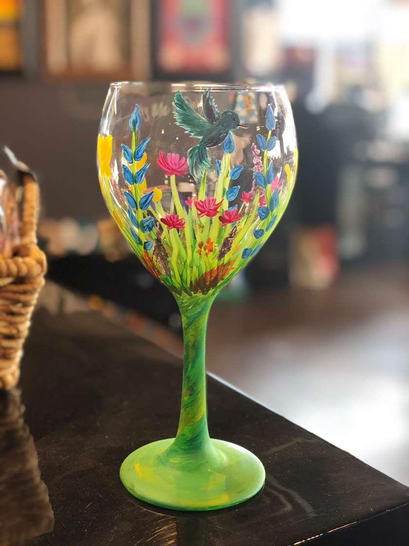 Hummingbird Garden Wine Glass