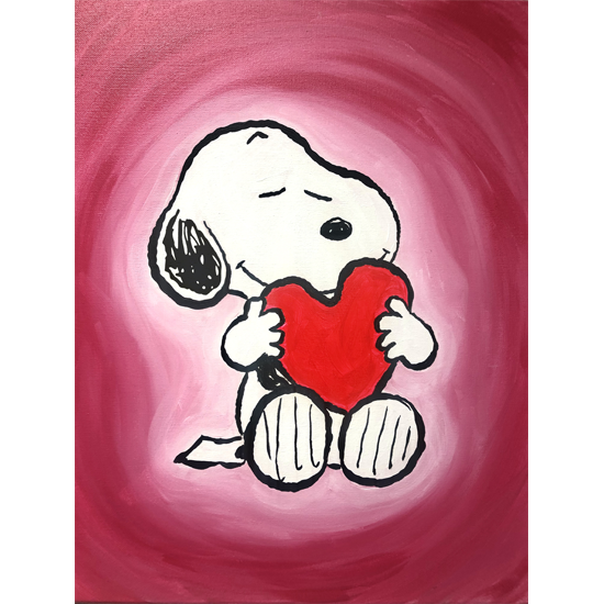 I Love Snoopy.        SMAK!  Put the LOVE in this Valentine's with Snoopy and the Peanuts gang.  Come along with us to paint the perfect Valentine in a Special LIVE Virtual Event!