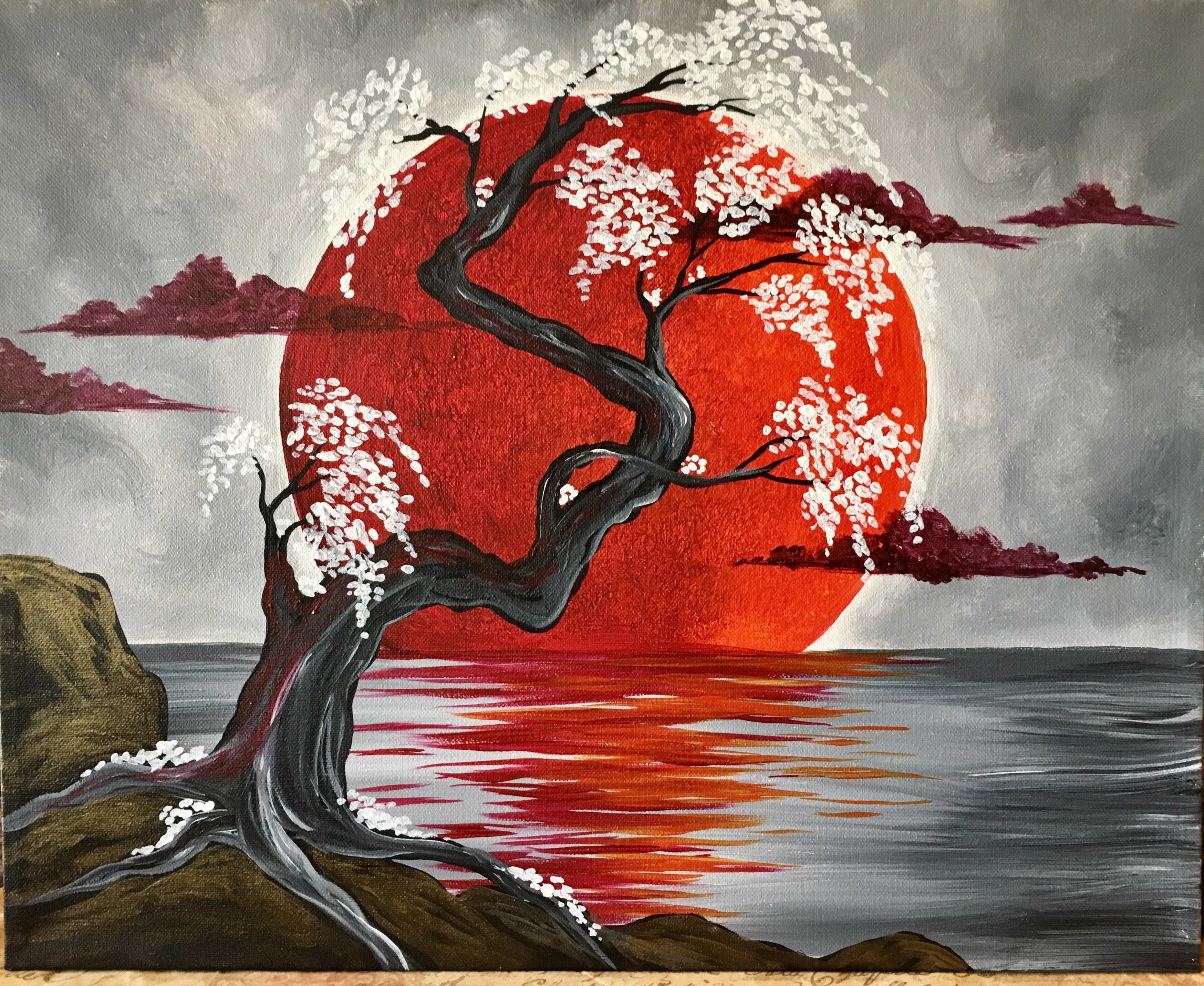 Japanese crimson moon pinot 39 s palette painting for Sip and paint houston