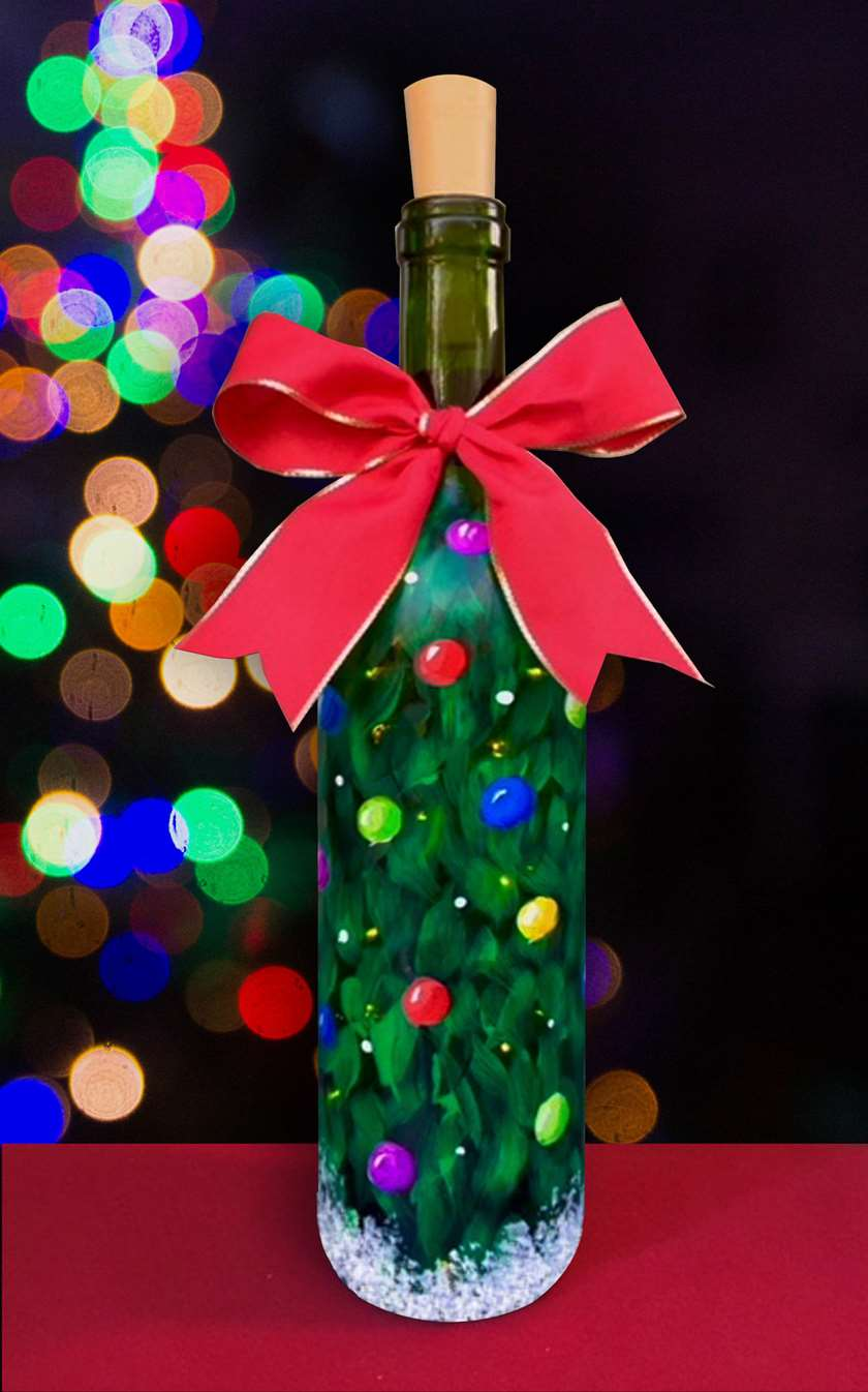 Jolly Christmas Wine Bottle with lights