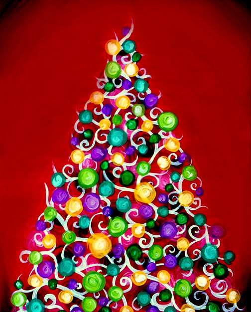 Jolly Christmas Lights (illuminating painting optional)  - In Studio Event - Limited Seating Available