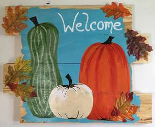 Leafy Fall Welcome Wood Pallet Sign