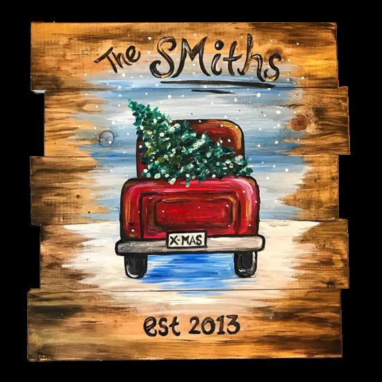 Little Red Truck - Wood Pallet
