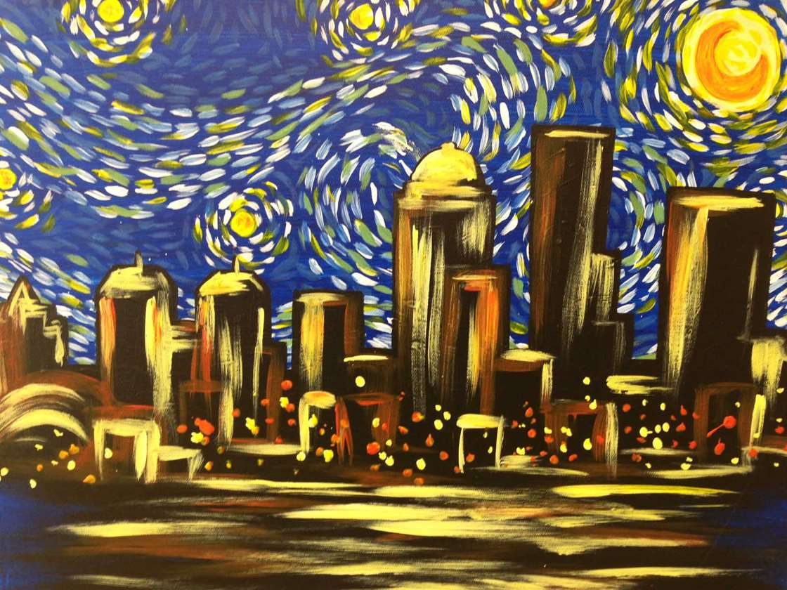 Louisville 39 s starry night pinot 39 s palette painting for Paint and sip louisville co