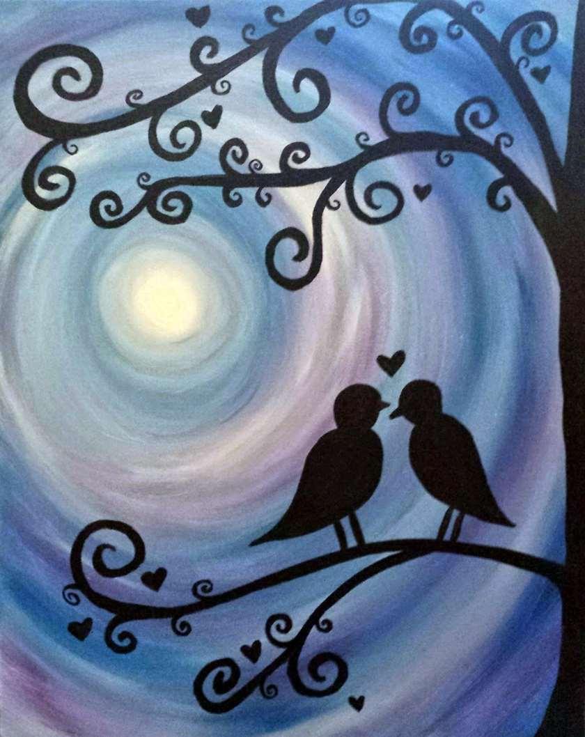Lovebirds at Twilight