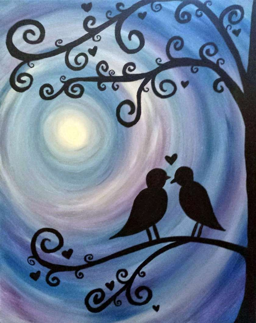 Lovebirds at Twilight