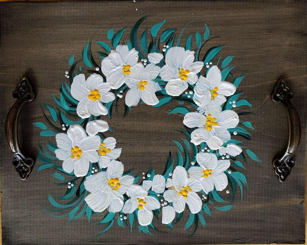 Magnolia Wreath Board Tray
