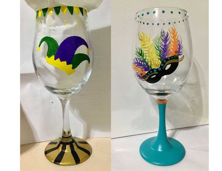 Mardi Gras Wine Glasses