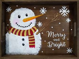 Merry Snowman Wood Tray