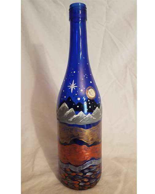 Metallic Mountain Trails Wine Bottle