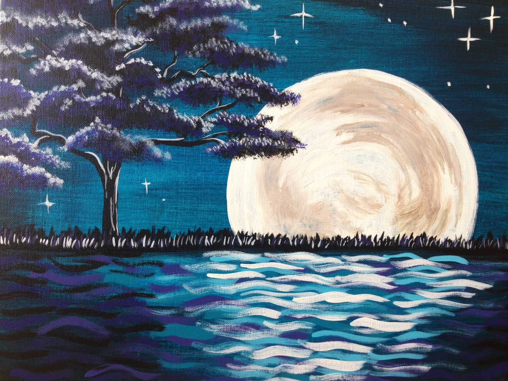 Midnight moon glow pinot 39 s palette painting for Sip and paint houston