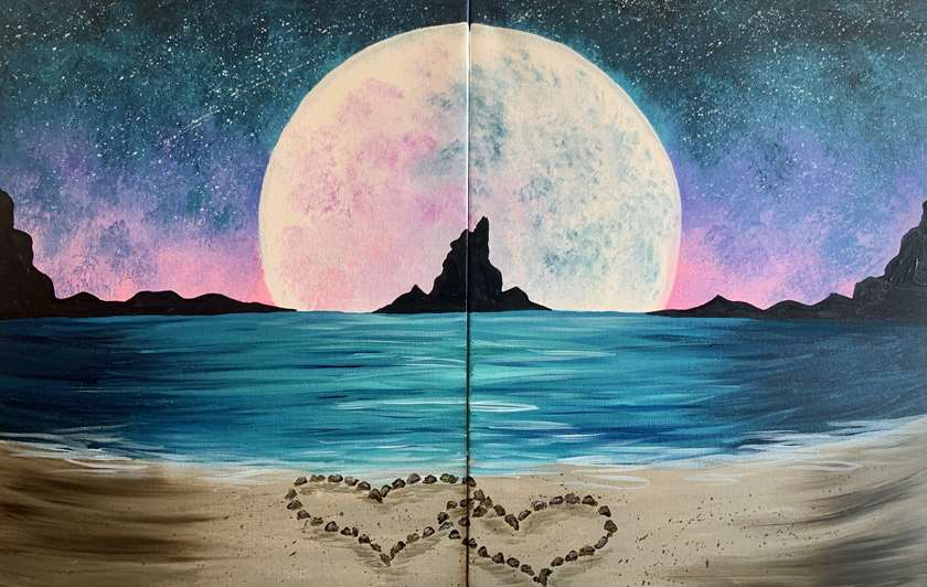 Date Night!  Paint half with your partner or paint it on one canvas!