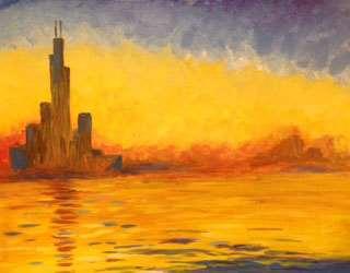 Monet City at Dusk