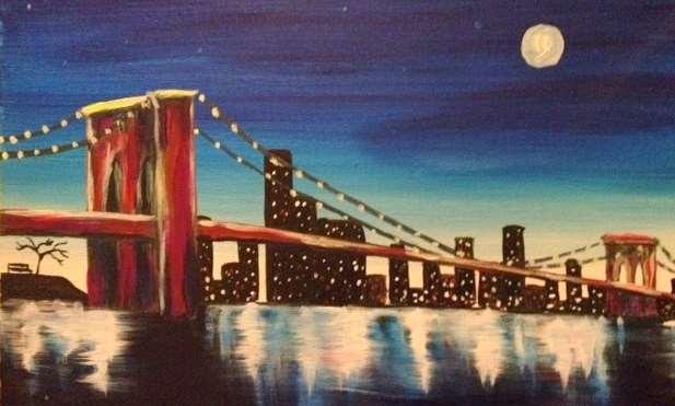 Moon Over Brooklyn Bridge