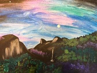 Moon Shine Over Half Dome