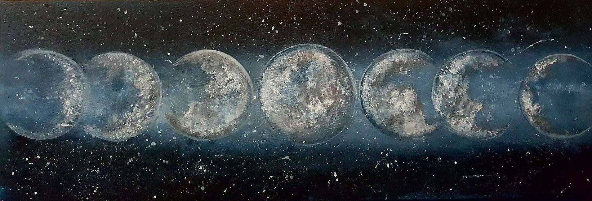 Moondancing - painted on 10x30 canvas