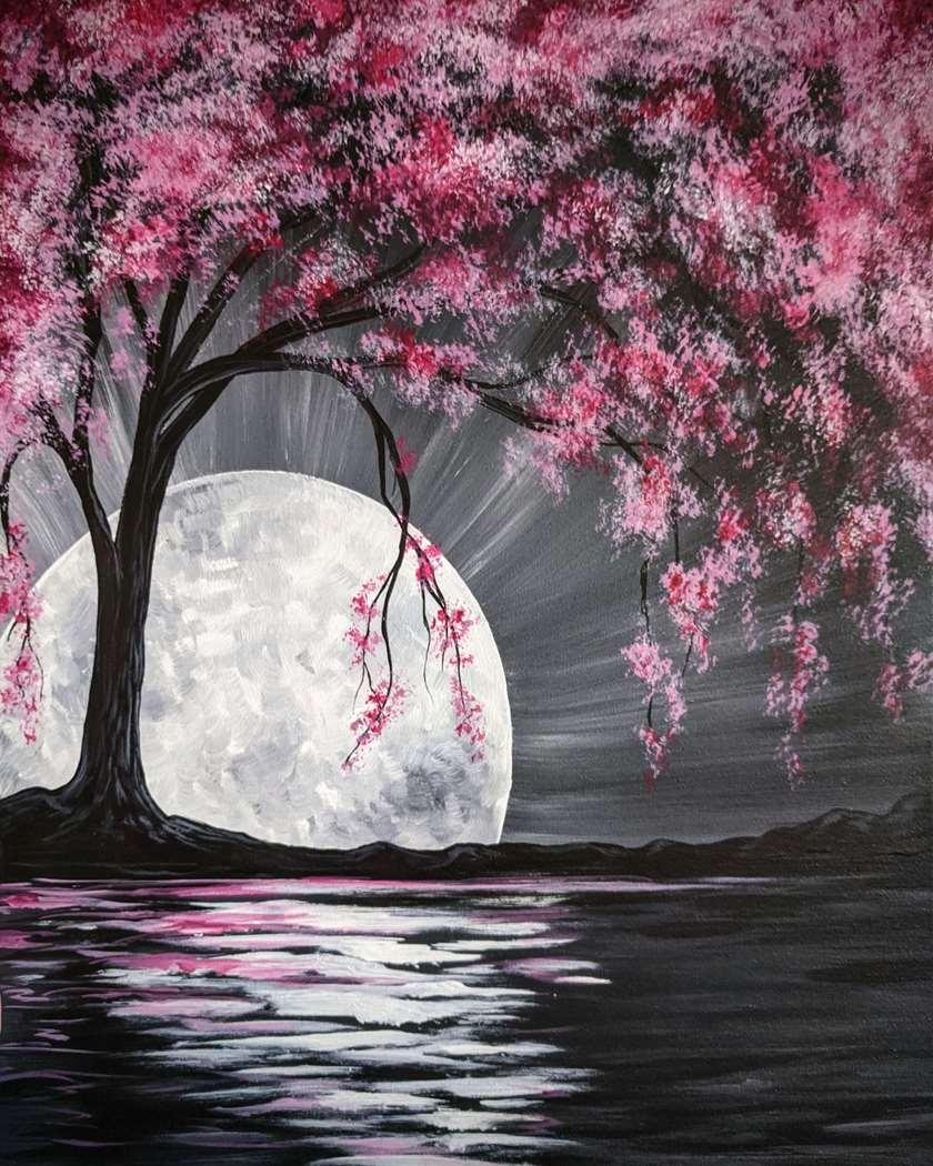 Moonlit Cherry Blossom Tree