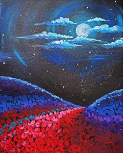 Moonlit Flower Field