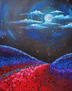 Moonlit Flower Field