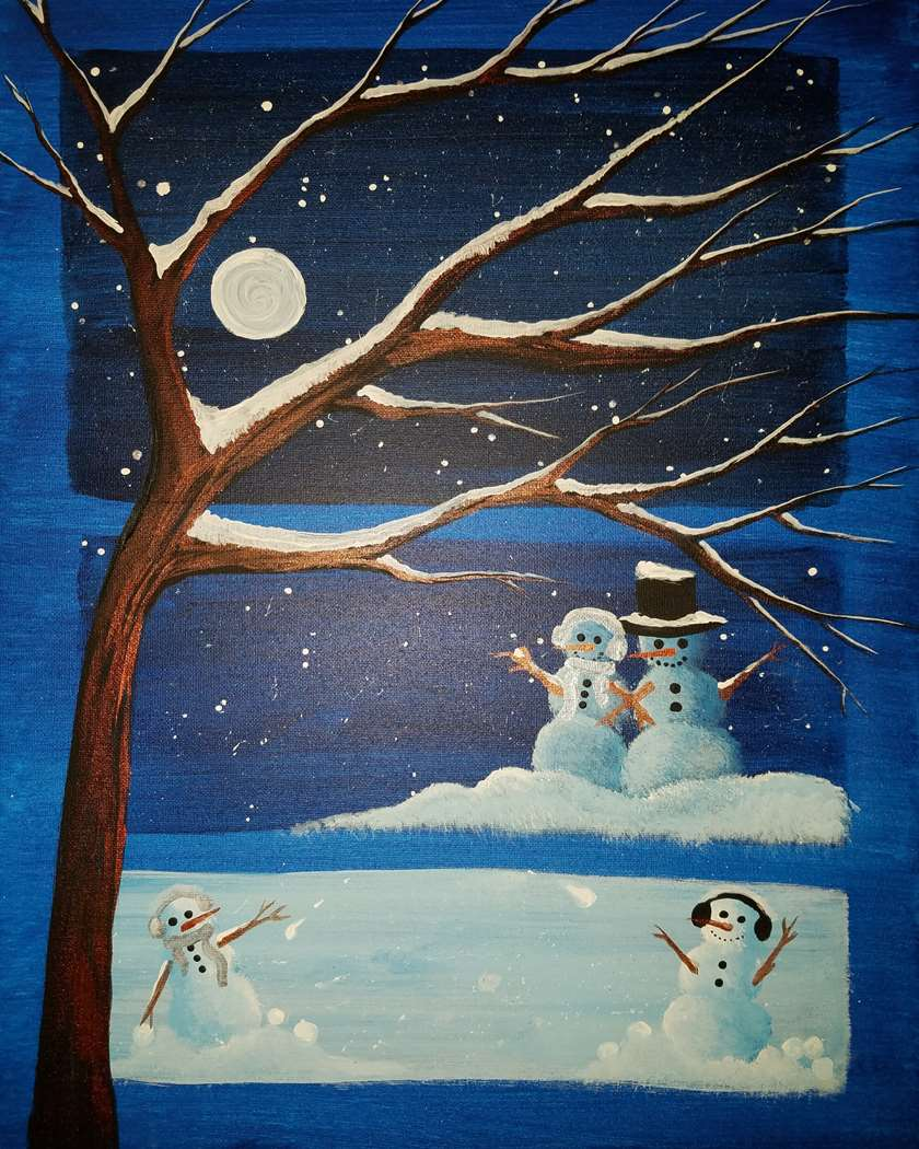 Moonlit Snowman Merriment