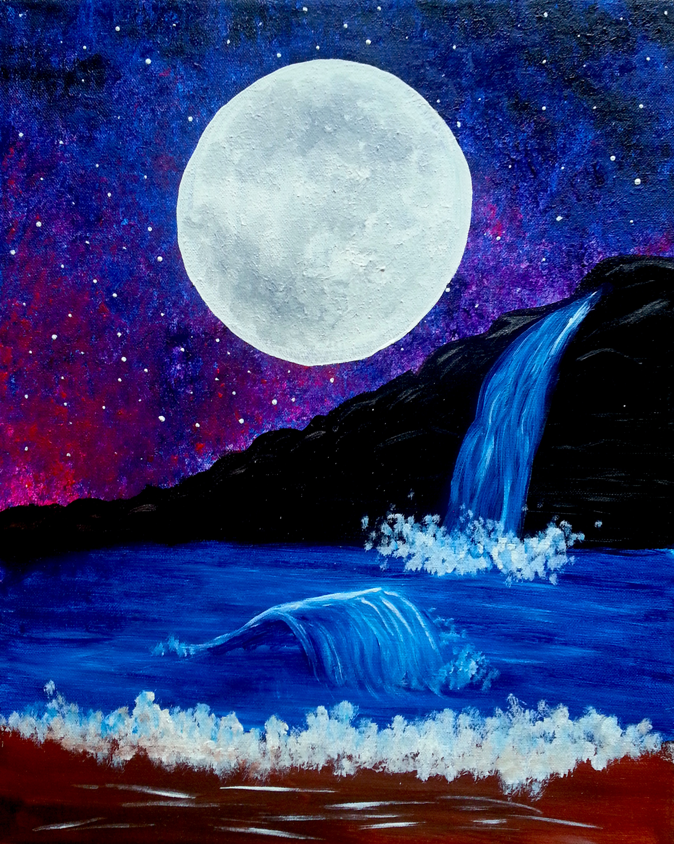 Moonlit Waterfall Pinot S Palette Painting