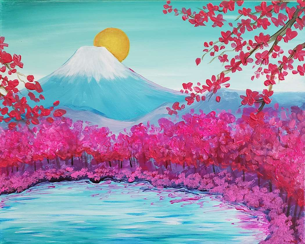 MOUNT FUJI BLOSSOMS - CHOOSE YOUR SURFACE AND SIZE
