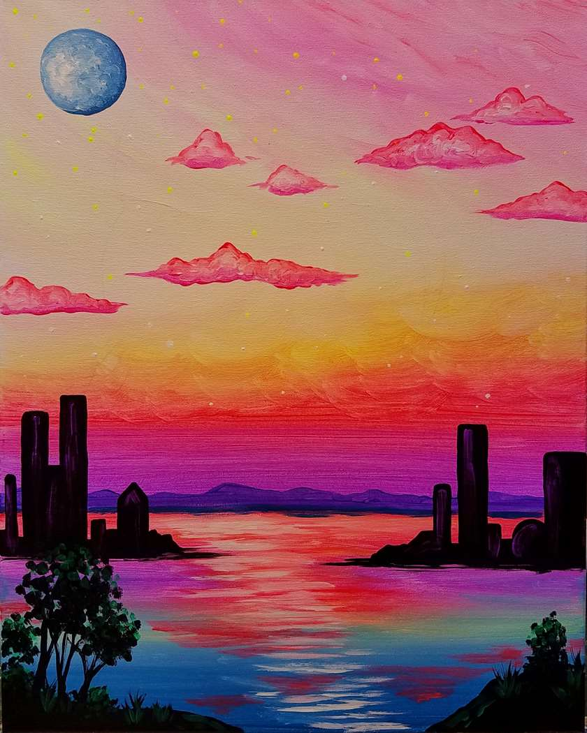 Mystical City   Black Light Painting!
