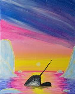 Narwhals at Sunset