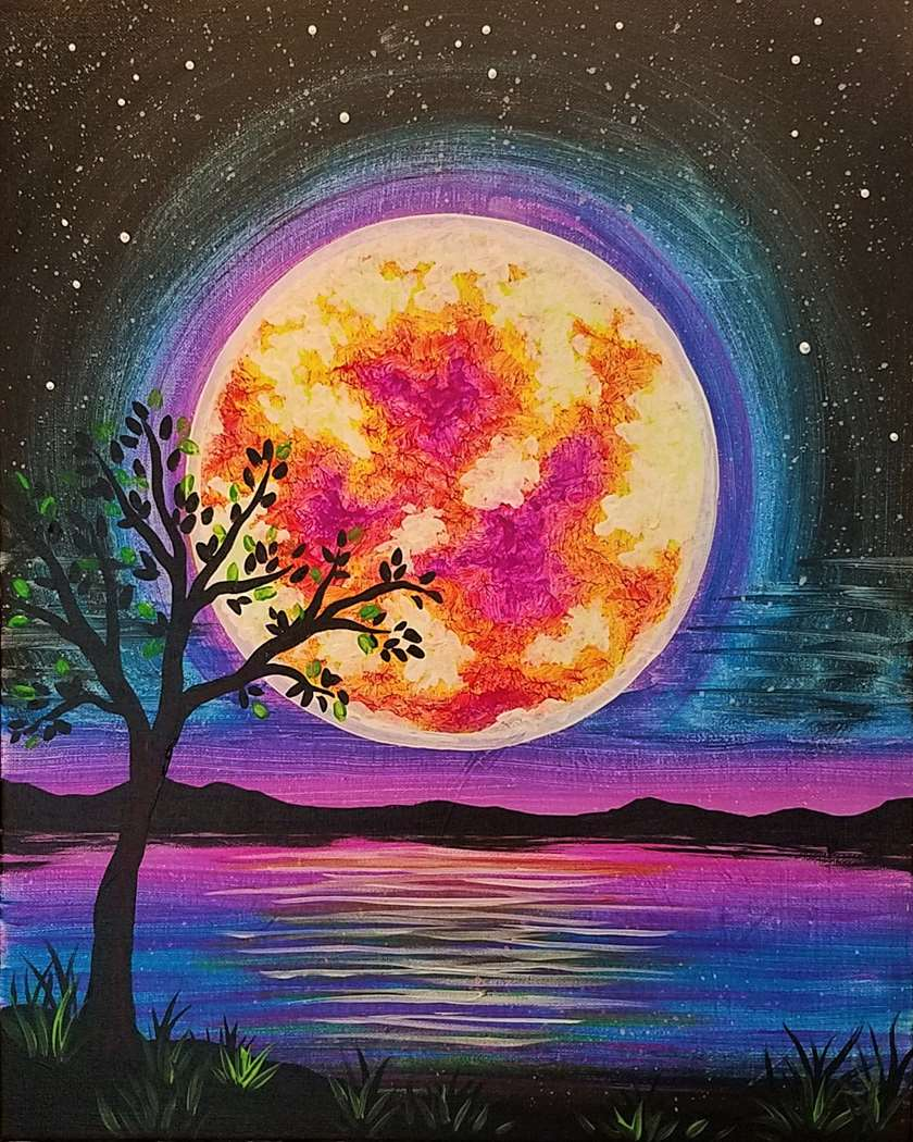 Neon Glowing Moon
