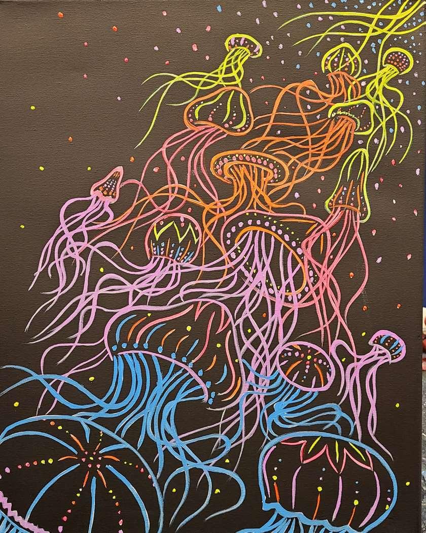 """Paint on the Patio! """"Neon Jellies"""" Outdoor Black Light"""