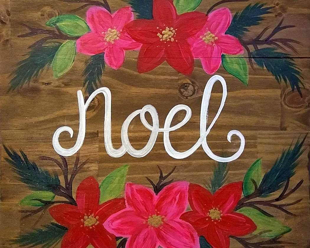 Noel Blooms Wooden Sign