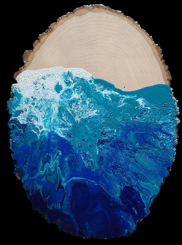 Ocean Marble on Wood