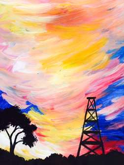 Oil Rig at Sunset