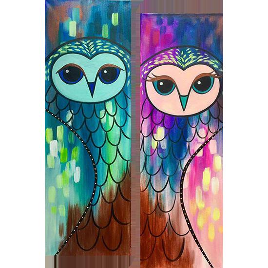 Opulent Owl Mates - Date Night - 10x30 Canvas