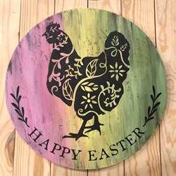 Ornate Hen Wood Board