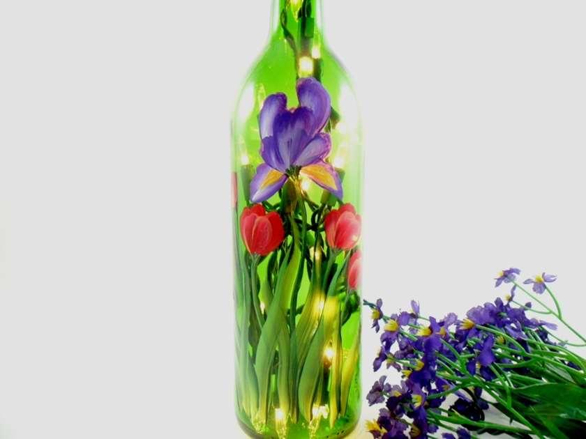 Painted LED Light-up Iris Wine Bottle